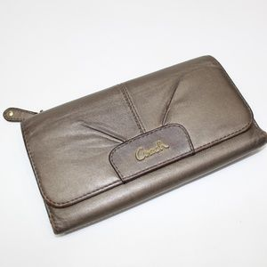 Coach Bronze Tri Fold Leather Wallet